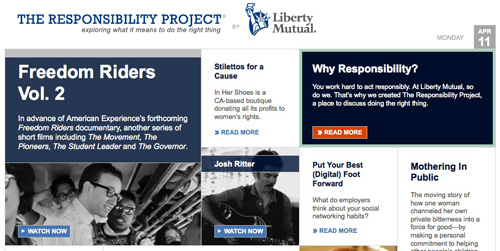 liberty mutual responsibility project Liberty mutual insurance is a provider of auto, home, and life insurance for consumers, as well as risk and disability products and services for businesses because responsibility is integral to who we are, we also support a range of community service programs around issues like fire safety and responsible sports.